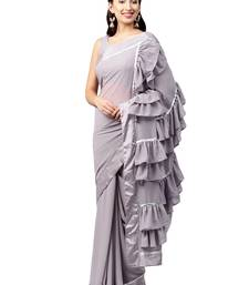 Buy Inddus Lavender Georgette Solid Ruffle Saree with Blouse Piece party-wear-saree online