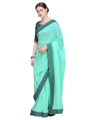 Inddus Green Art Silk Solid Bordered Saree With Blouse Piece