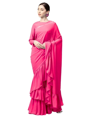Inddus Pink Georgette Solid Ruffle Saree With Blouse Piece