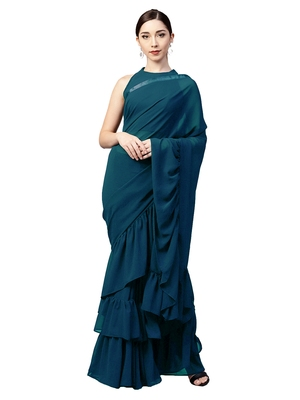 Inddus Turquoise Georgette Solid Ruffle Saree with Blouse Piece