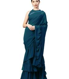 Buy Inddus Turquoise Georgette Solid Ruffle Saree with Blouse Piece party-wear-saree online