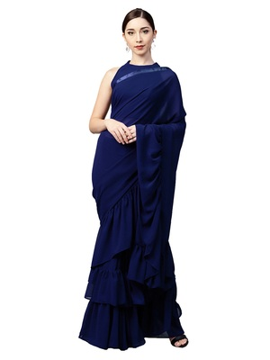 Inddus Navy Blue Georgette Ruffle Saree With Blouse Piece
