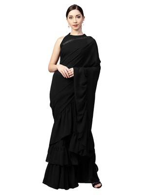 Inddus Black Georgette Solid Ruffle Saree With Blouse Piece
