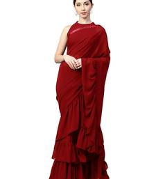 Buy Inddus Red Georgette Solid Ruffle Saree with Blouse Piece party-wear-saree online