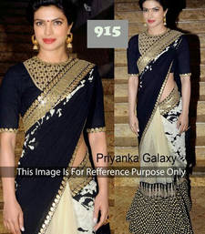 Buy BLACK - GOLD embroidery net saree with blouse bollywood-saree online