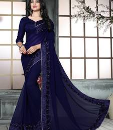 Dark Blue Embroidered Georgette Saree With Blouse