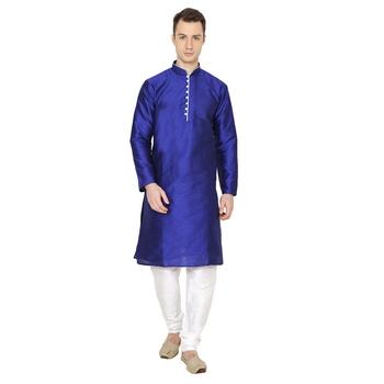 Blue Plain Silk Blend Men Kurtas