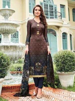 Brown printed satin salwar with dupatta