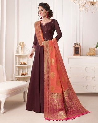 Brown embroidered silk salwar with dupatta