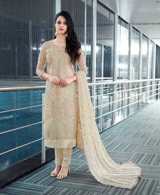 Beige embroidered net salwar with dupatta