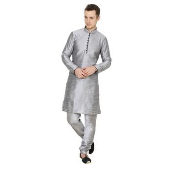 Silver plain silk blend men-kurtas