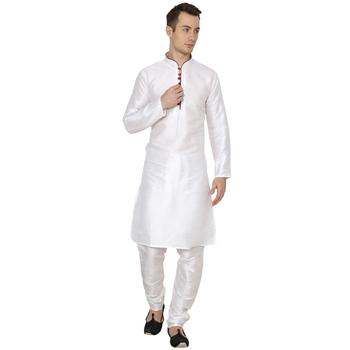 White Plain Silk Blend Men Kurtas