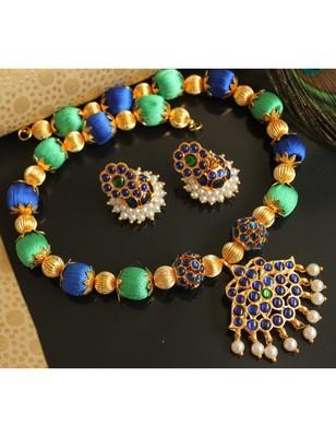 Beautiful Green Blue Designer Necklace Set