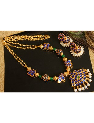 Beautiful Blue Green Mango Designer Necklace Set