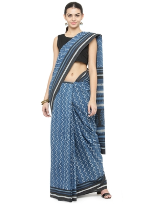 Indigo printed cotton saree