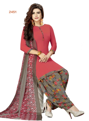 red printed synthetic unstitched salwar with dupatta