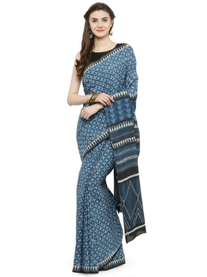 Indigo printed cotton saree