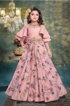 030f8558266 Pink embroidered silk kids girl gowns. Shop Now
