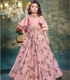 Pink embroidered silk kids girl gowns