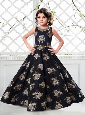 Blue embroidered silk kids girl gowns