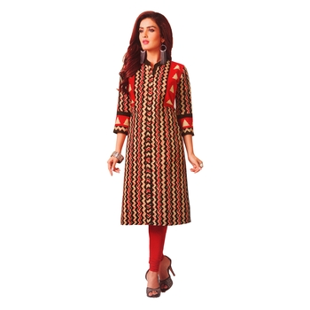 Red printed cotton unstitched kurtis