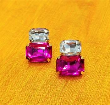 Lovely Pink CZ Designer Indo Western Earrings Set