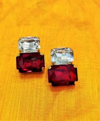 Red CZ Designer Indo Western Earrings Set