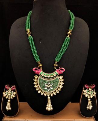Pink Green Cyrstal Kundan Meenakari Elephant Jewelry Set