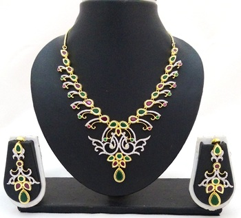 Ruby Emerald CZ Jewelry Set