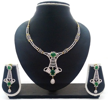 Emerald Green CZ Designer Jewelry Set
