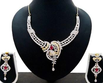 Ruby Pink White CZ Designer Jewelry Set