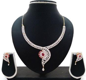 Ruby Pink Flower CZ Designer Jewelry Set