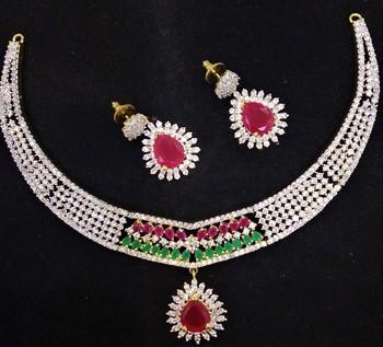 Ruby Emerald CZ Designer Jewelry Set