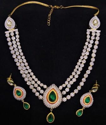 3 Line CZ Emerald Designer Jewelry Set