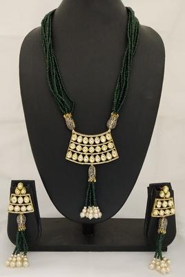 Exclusive Green crystal Kundan CZ Royal Jewelry set