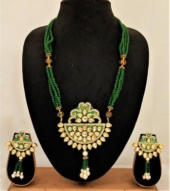 Limited EditionGreen Crustal Kundan CZ Jewelry set
