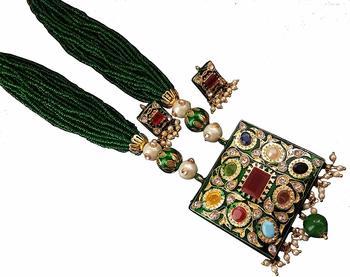 Emrald Green Partywear Onex Beads Women  Necklace Sets
