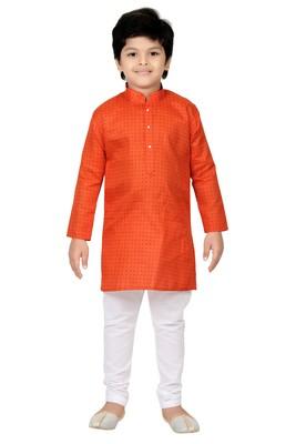 Orange printed cotton poly boys kurta pyjama