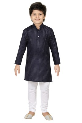 Blue printed cotton poly boys kurta pyjama
