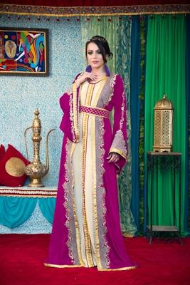 Violet and biskit color morrocon style muslim wedding dress kaftan