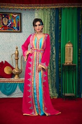 Pink And Aqua Blue Color Thread Work Morrocon Muslim Wedding Dress Kaftan