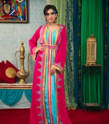 Pink and aqua blue color thread work morrocon muslim wedding dress kaftan