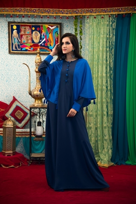 Dark Blue Color Abaya Maxi Dress Muslim Wedding Dress Kaftan