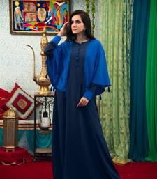 Dark Blue Color Abaya Maxi Dress Muslim Wedding Dress Kaftan