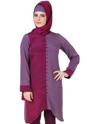 MyBatua Nabeeha Wine & Purple Crepe Tunic