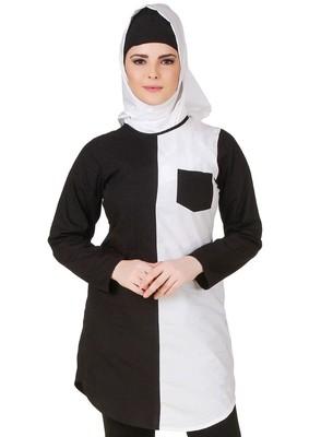MyBatua Nuzhah Black & White Cotton Tunic