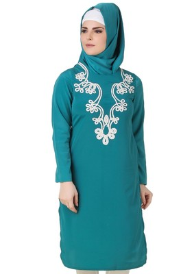 MyBatua Fariha Bottle Green Crepe Tunic