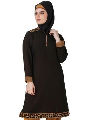 MyBatua Nuriyah Black-Beige Georgette & Crepe Tunic