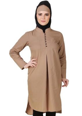 MyBatua Afnan Cotton Khaki Tunic