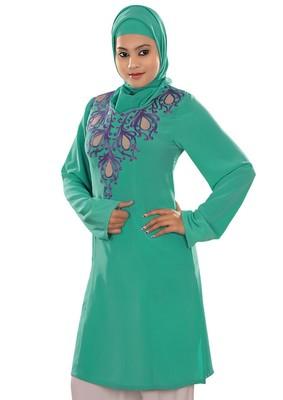 MyBatua Reham Green Embroidered Tunic
